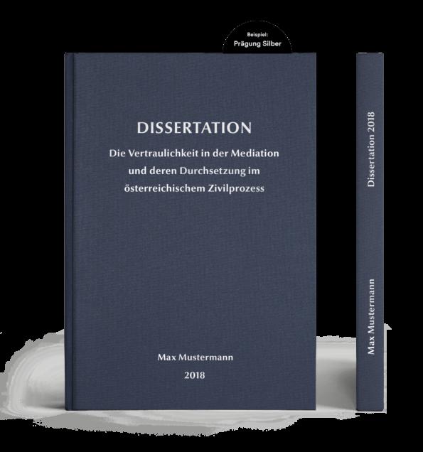 Leinenbuch Hardcover dunkelgrün mit individueller Prägung in Times New Roman in gold