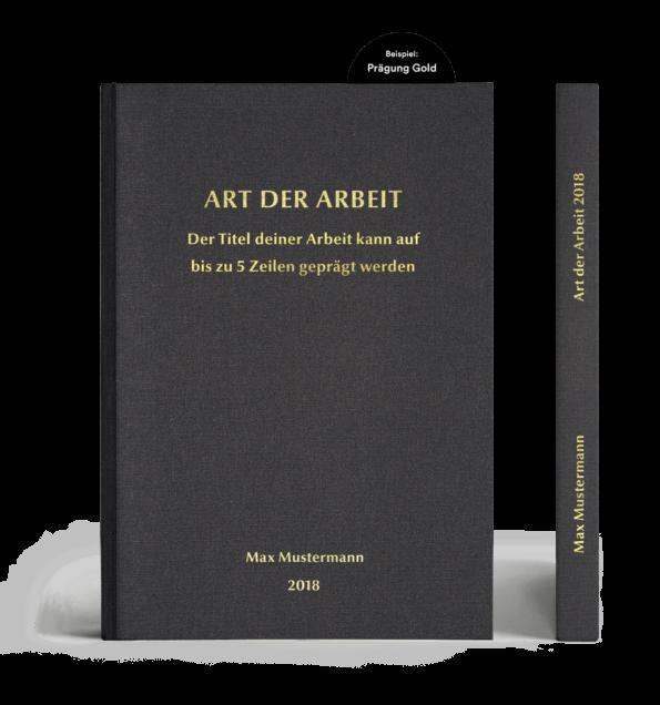 Leinenbuch Hardcover schwarz mit individueller Prägung in gold